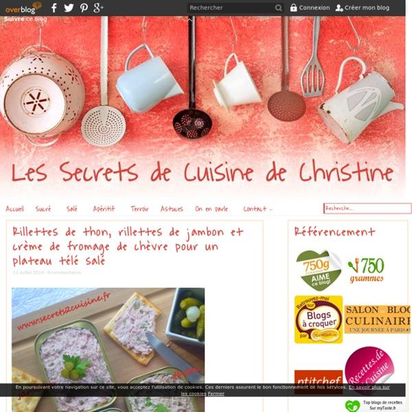 Rillettes de thon, rillettes de jambon et crème de fromage de chèvre pour un plateau télé salé - Les Secrets de Cuisine de Christine