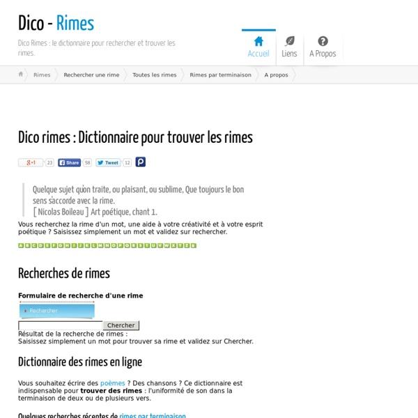 Rimes : Dictionnaire pour trouver une rime - Dico - rimes