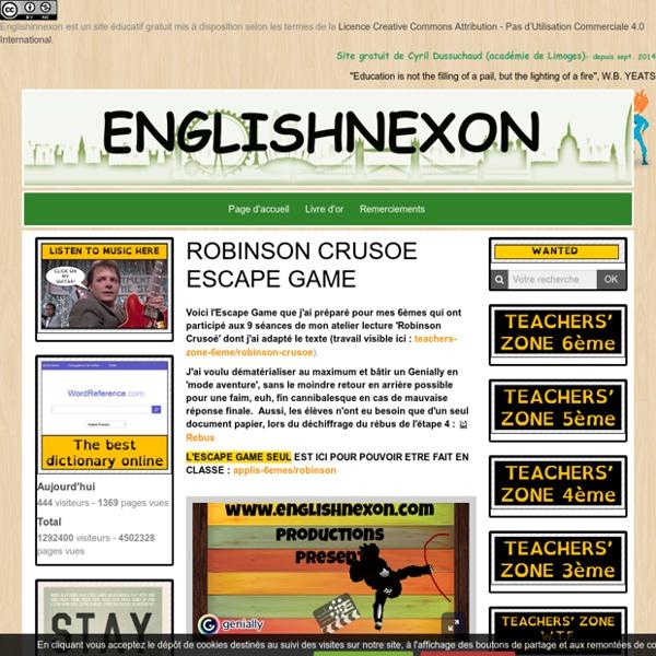 ROBINSON CRUSOE ESCAPE GAME DEFOE