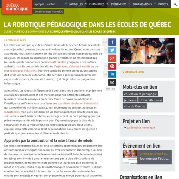 Mai 2016 La robotique pédagogique dans les écoles de Québec