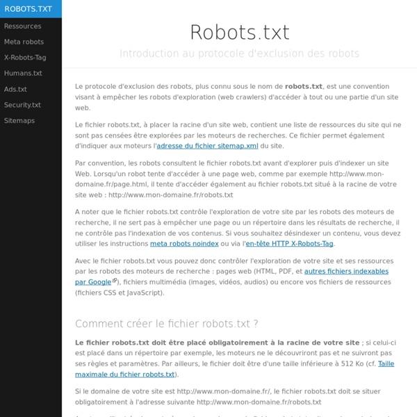 Robots.txt - Manuel d'implémentation