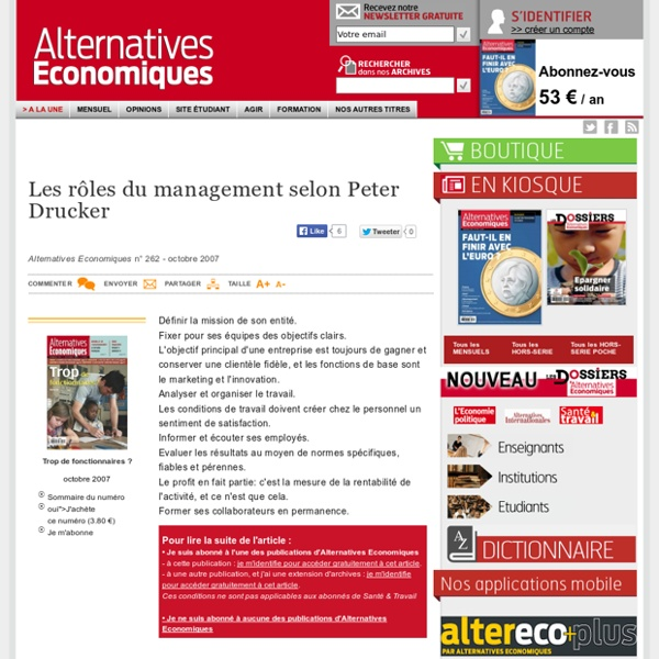 Les rôles du management selon Peter Drucker