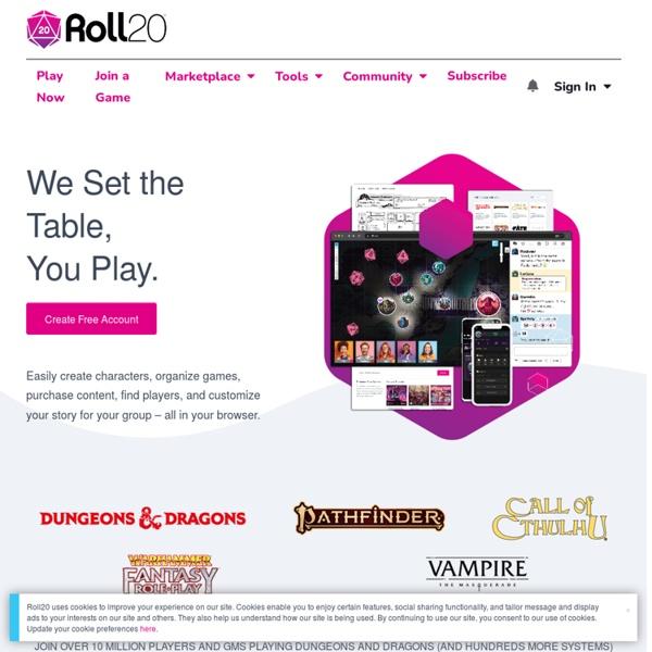 Roll20 : table de jeu virtuelle en ligne pour JDR papier et jeux de société.