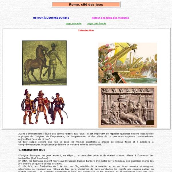 Rome cité des jeux : introduction