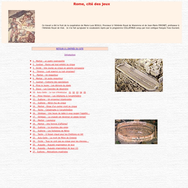 Rome cité des jeux : table des matières