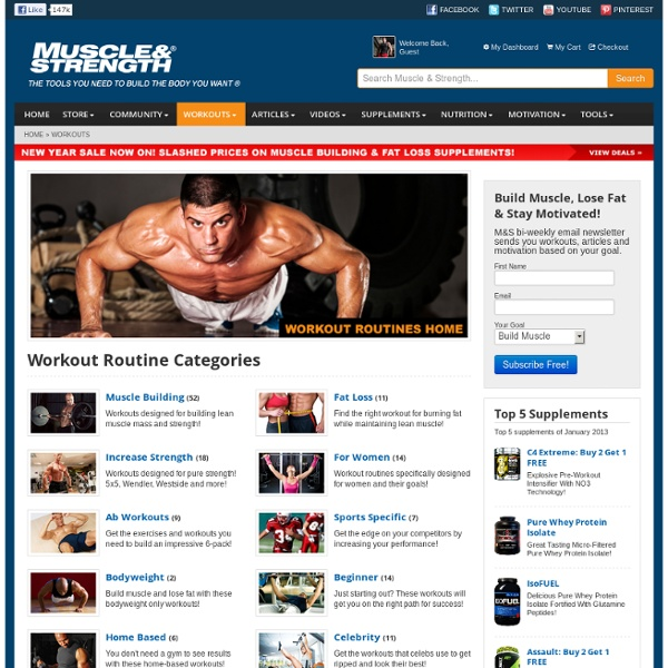 Workout Routines - Bodybuilding, Fat Loss & Weight Lifting