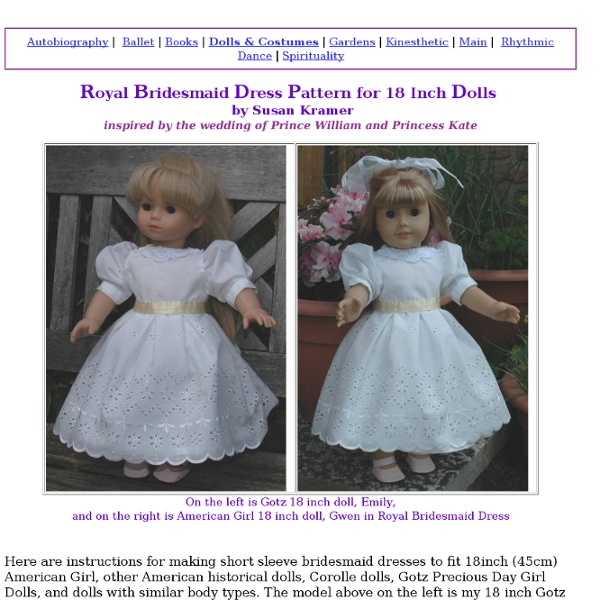 Royal Bridesmaid Dress Pattern for 18 Inch Dolls