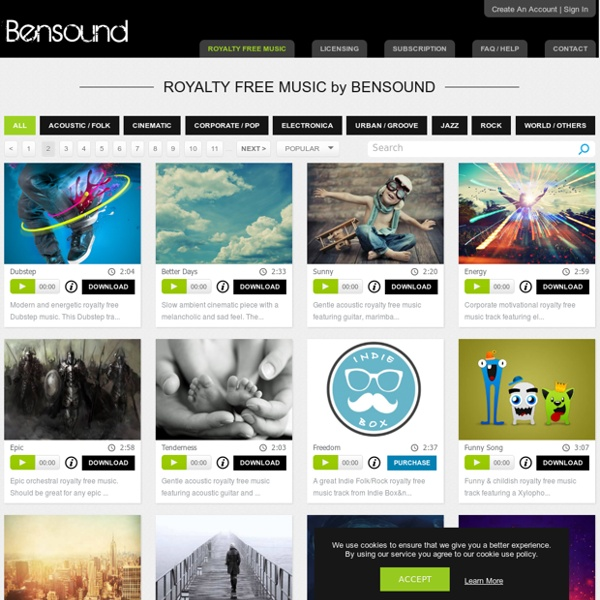 Royalty free music from Bensound