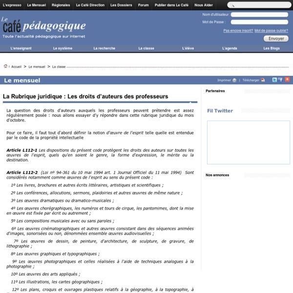 La Rubrique juridique : Les droits d'auteurs des professeurs