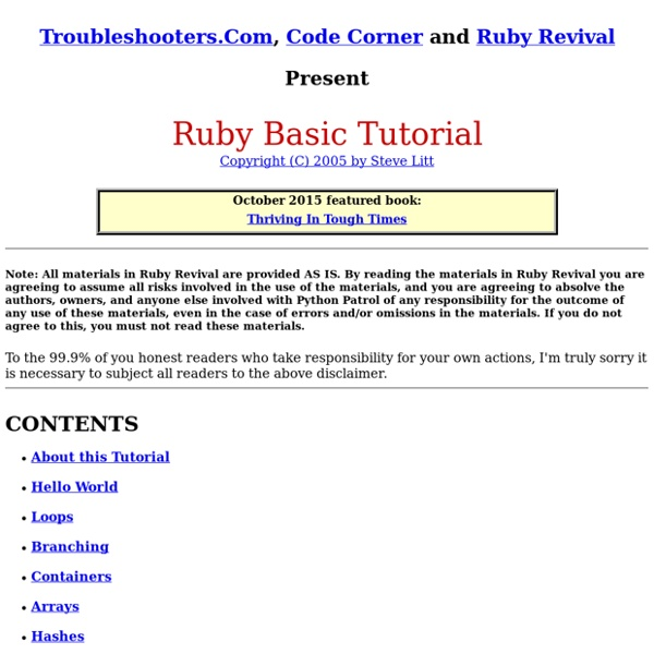 Ruby Basic Tutorial