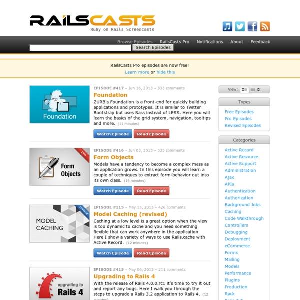Railscasts - Free Ruby on Rails Screencasts