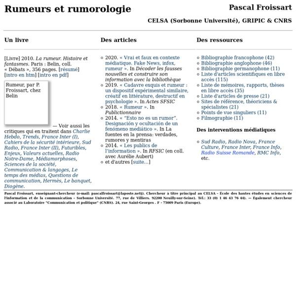 Rumeur & rumorologie, par Pascal Froissart (sociologie des rumeurs, psychologie, epistemologie)
