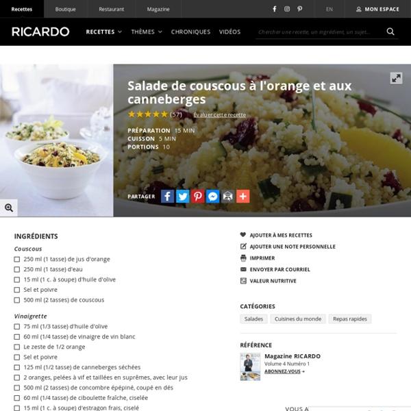 Salade de couscous à l'orange et aux canneberges