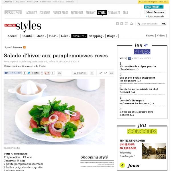 Salade d'hiver aux pamplemousses roses