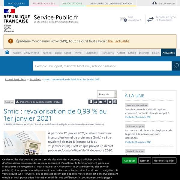 Salaires -Smic: revalorisation de 0,99% au 1erjanvier2021