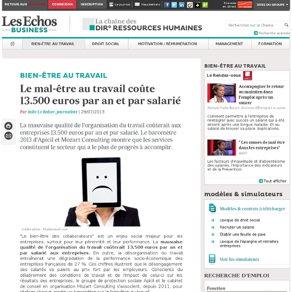 Le mal-être des salariés coûte 13.500 euros par an et par salarié