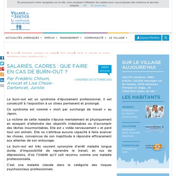 Salariés, cadres : que faire en cas de burn-out ? Par Frédéric Chhum, Avocat.