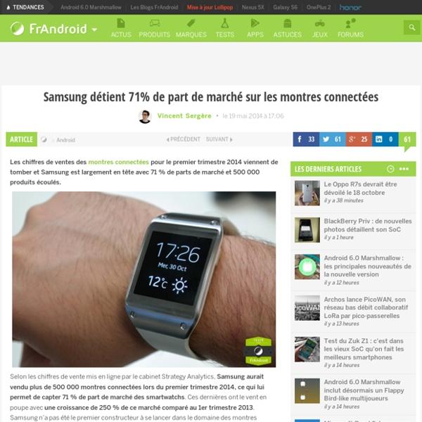 Samsung détient 71% de part de marché sur les montres connectées