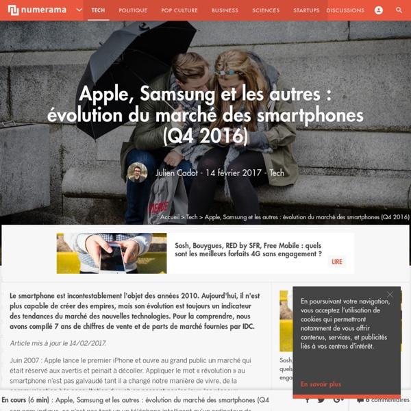 Apple, Samsung et les autres : évolution du marché des smartphones (Q3 2016) - Tech