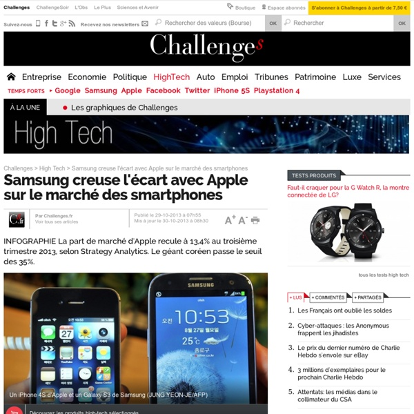 Samsung creuse l'écart avec Apple sur le marché des smartphones - 30 octobre 2013