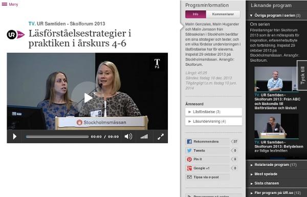 Skolforum 2013: Läsförståelsestrategier i praktiken i årskurs 4-6