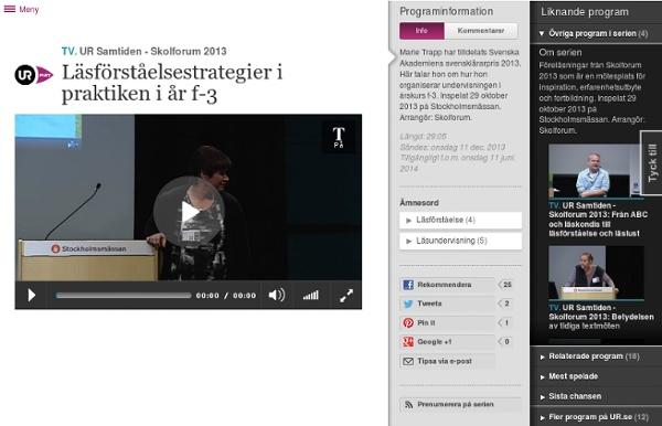 Skolforum 2013: Läsförståelsestrategier i praktiken i år f-3
