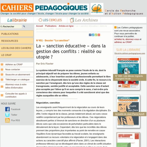 La « sanction éducative » dans la gestion des conflits : réalité ou utopie