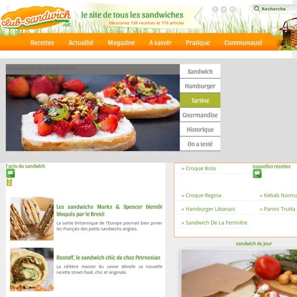Club-Sandwich.net, le site du sandwich : recettes de sandwiches, recette hamburger, tartines