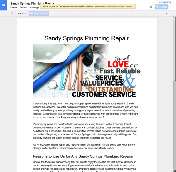 Sandy Springs Plumbing Repair