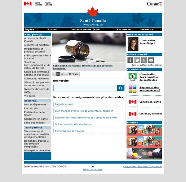 Santé Canada - Page principale