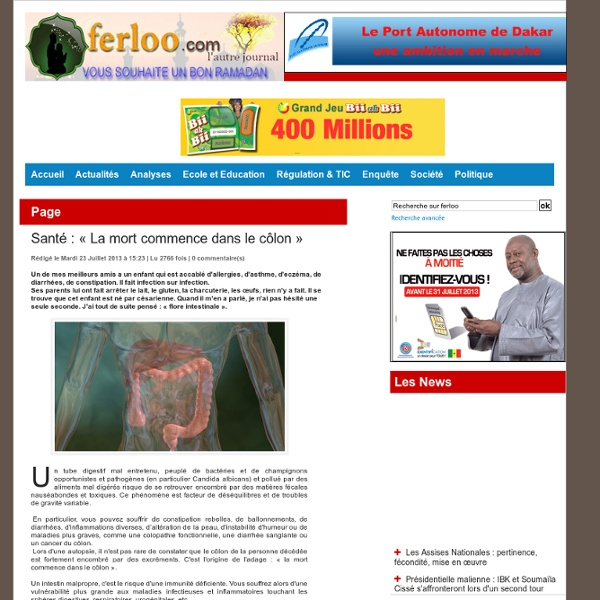 Santé : « La mort commence dans le côlon »