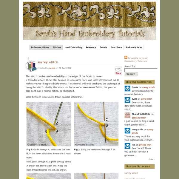 Sarah's Hand Embroidery Tutorials