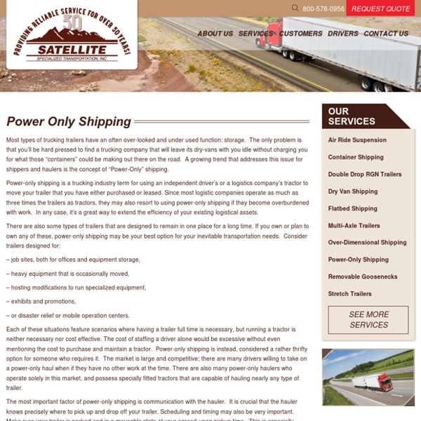 Power Only Shipping Services