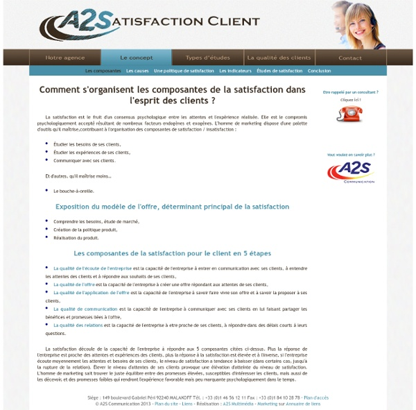 Satisfaction client - Composantes de la satisfaction