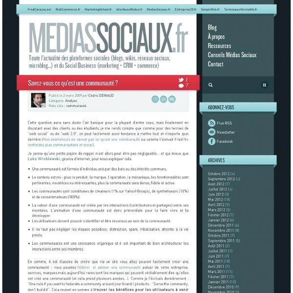 Médias sociaux > Savez-vous ce qu'est une communauté ?