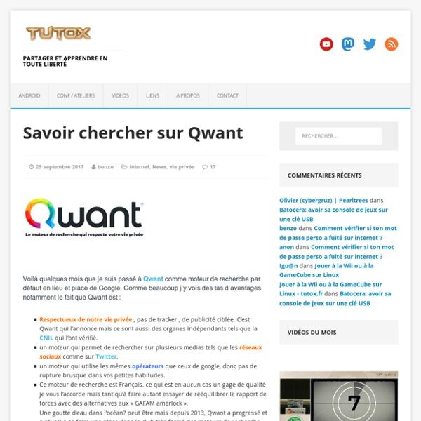 Savoir chercher sur Qwant -