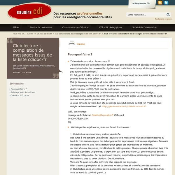 Club lecture : compilation de messages issus de la liste cdidoc-fr