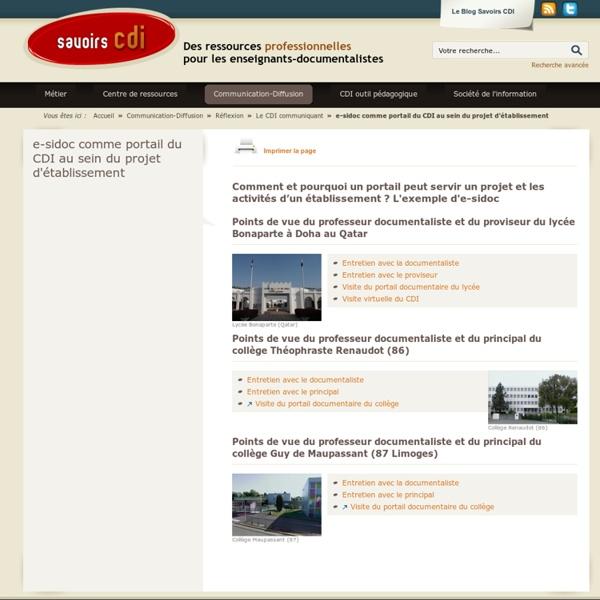E-sidoc comme portail du CDI au sein du projet d'établissement