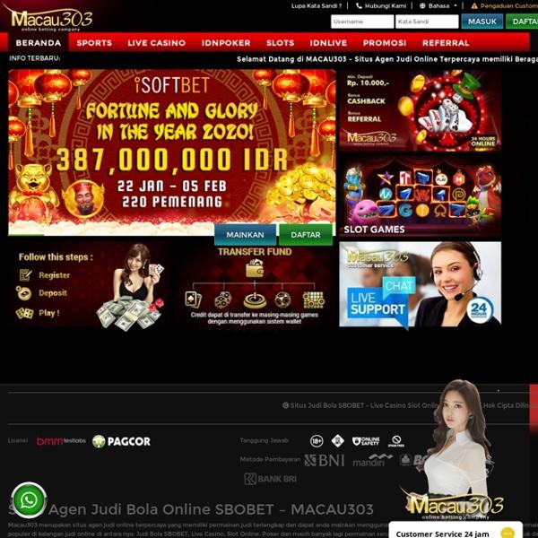 Situs Judi Bola Sbobet Live Casino Slot Online Macau303 Pearltrees