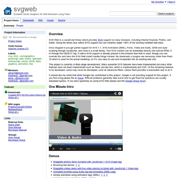 Svgweb - Scalable Vector Graphics for Web Browsers using Flash