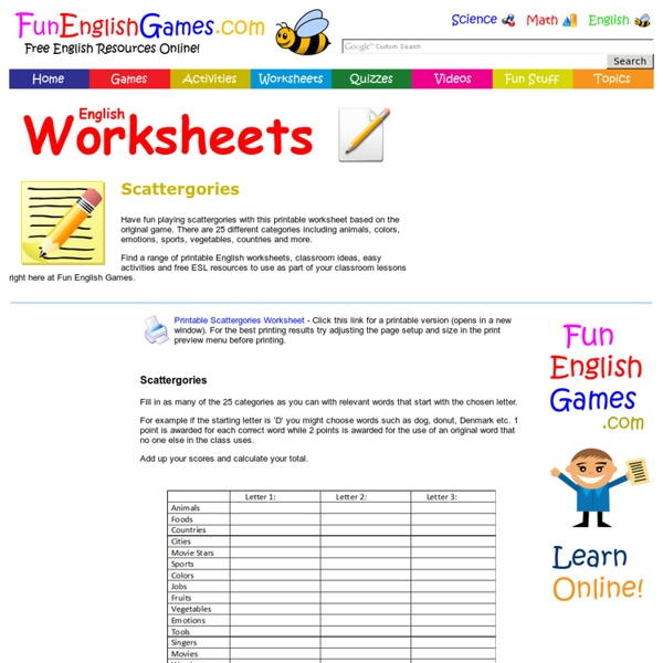 Scattergories with Categories - Printable Worksheet