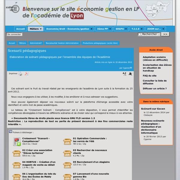 Scenarii pédagogiques - [Site économie gestion en LP - Académie de Lyon]