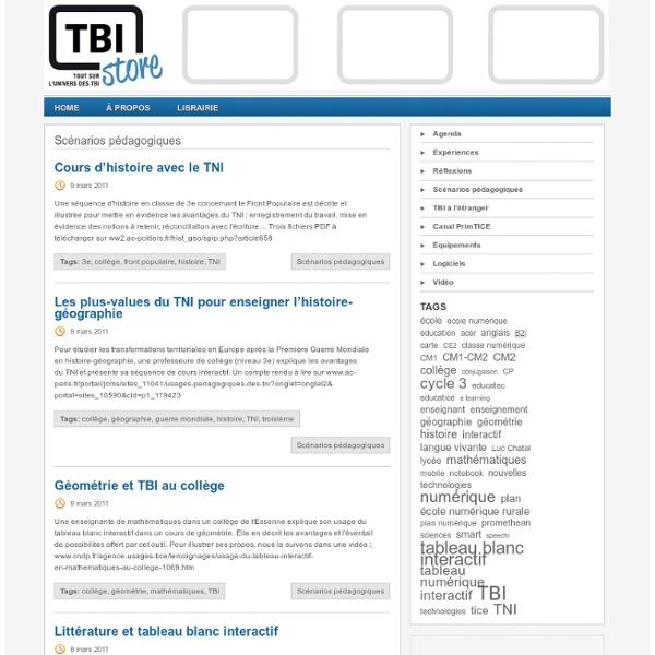 Scénarios pédagogiques « TBI Store – Tout sur l'univers des TBI
