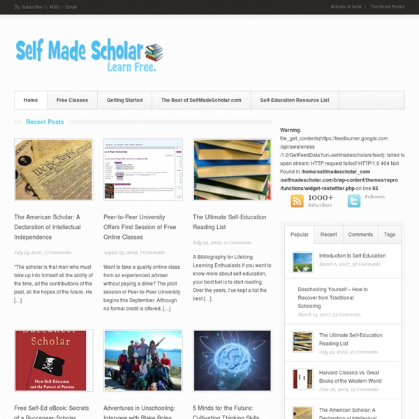 Self Made Scholar - Free Self Education Classes Online