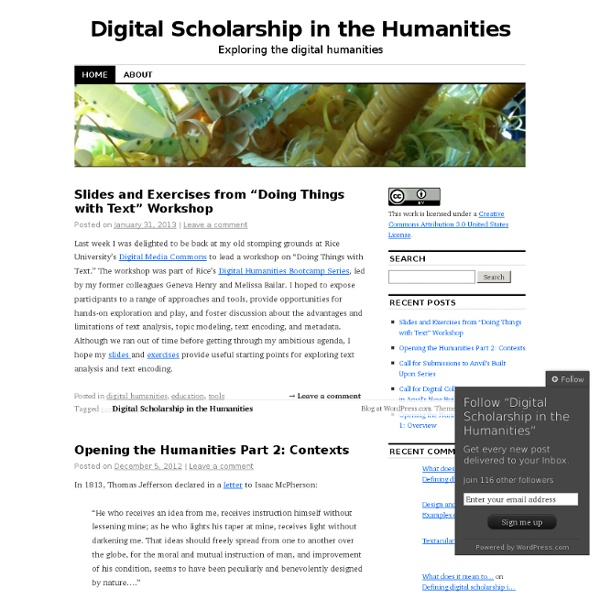 Digital Scholarship in the Humanities
