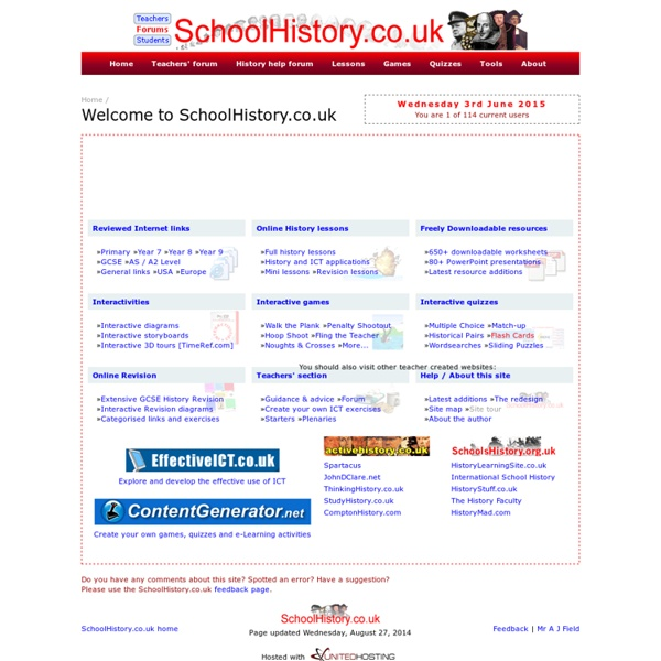 SchoolHistory.co.uk - online history lessons, revision, games, worksheets, quizzes and links.