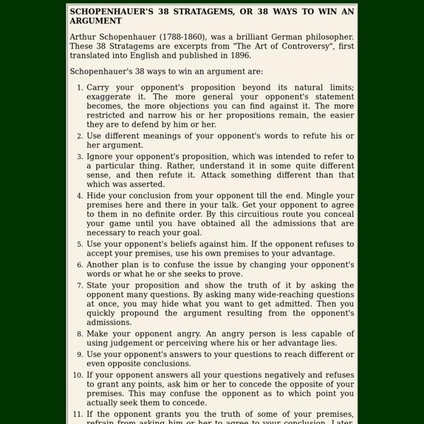 SCHOPENHAUER'S 38 STRATAGEMS, OR 38 WAYS TO WIN AN ARGUMENT