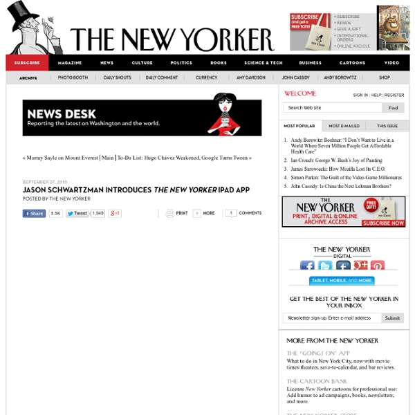News Desk: Jason Schwartzman Introduces The New Yorker iPad App