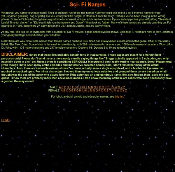 Sci-Fi Names