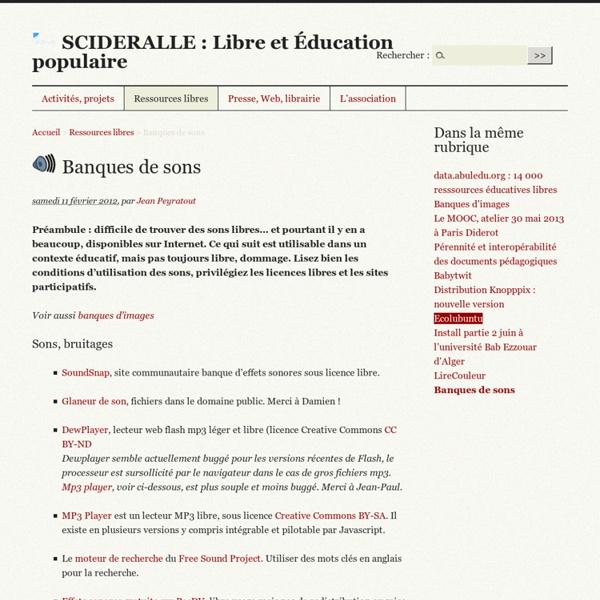 Banques de sons - SCIDERALLE : Libre et Éducation populaire